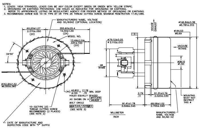 55 79 Ametek 116336  Vacuum Motor 2m429